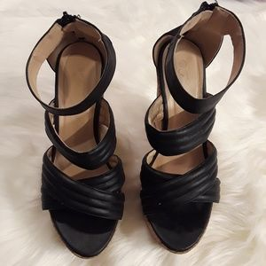 Shoes - Black Platform Wedged Heels